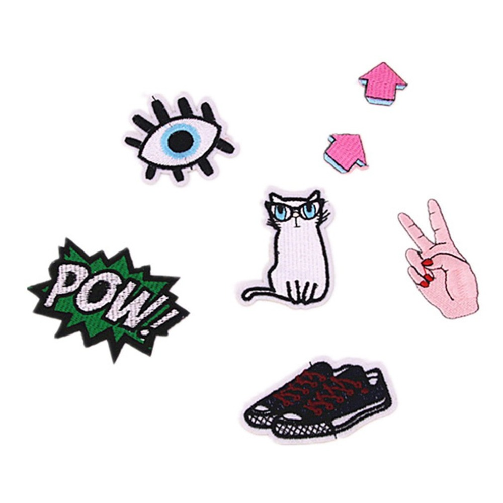 7pcs/set Creative Cartoon Patches DIY Embroidery Patches For Clothing Pants Jacket Sewing Apparel Accessories Drop Shipping