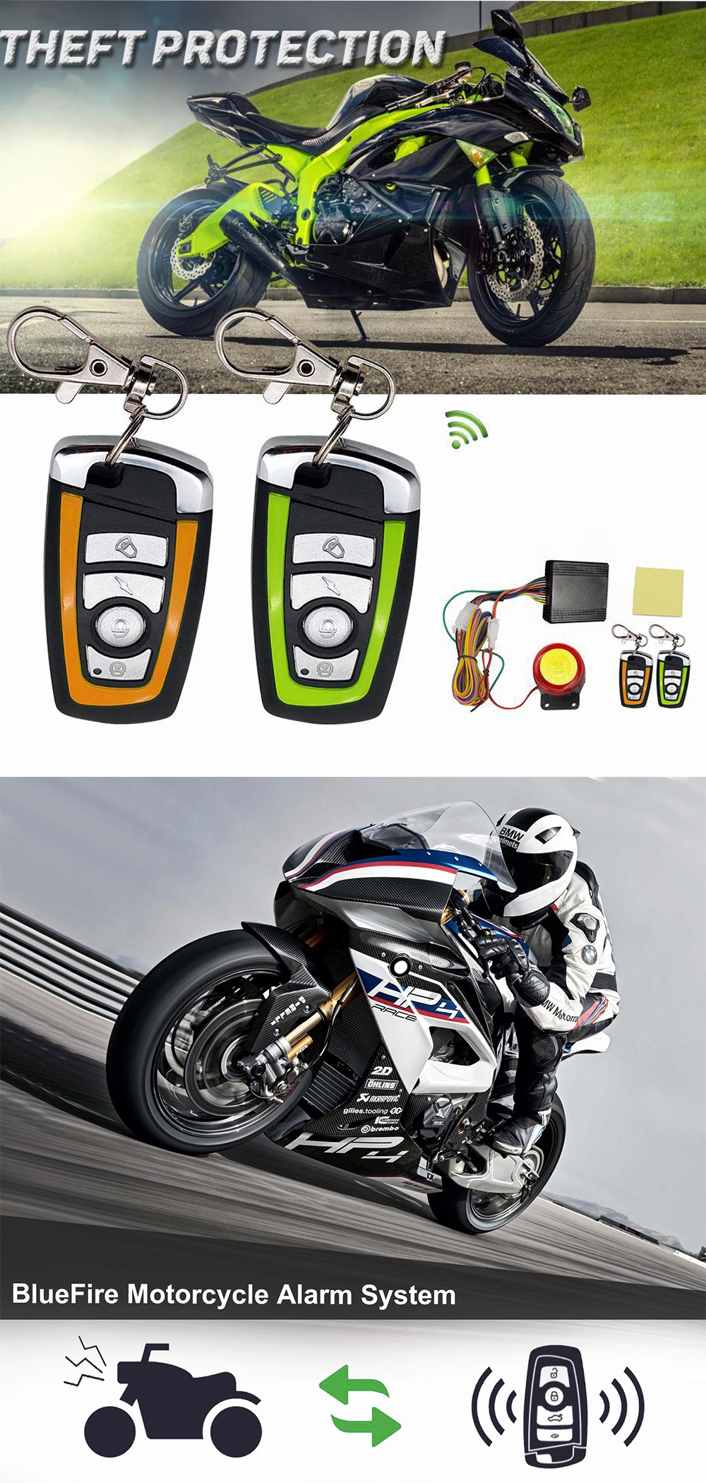 Car Anti-theft Security Alarm,ABS 12V 125DB Anti-trimming and Waterproof Burglar System with Double Color Remote Control and Shock Sensor for Motorbike Bike Tricycle etc