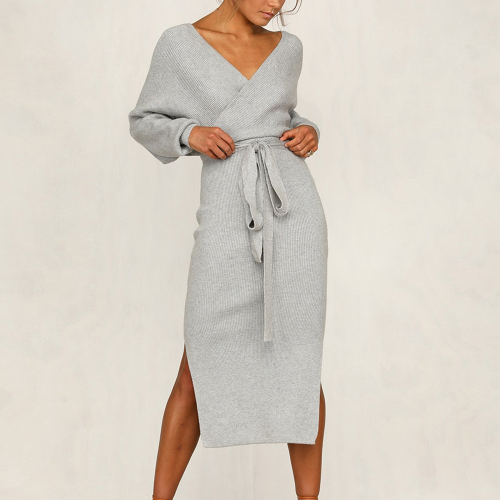 Vertvie 2019 New bodycon Sweater Dress Women Autumn Winter Split Deep V-neck Sheath Dress Sexy Lady Slim Tight Dress Streetwear