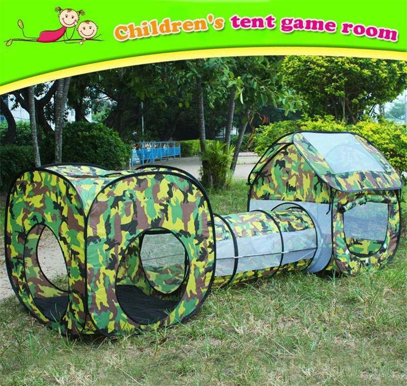 3 in 1 Camouflage Outdoor Playhouse Tunnel Tent for Baby Children Waterproof Two Rooms Tunnel Tents 2307085cm Kids' Gift Toys (6)