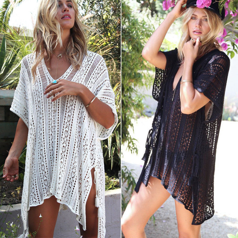 Women Sexy Beach Cover Up 2020 Hot Cardigan Top Coat Kaftan Bikini Cover Up Beach Dress title=