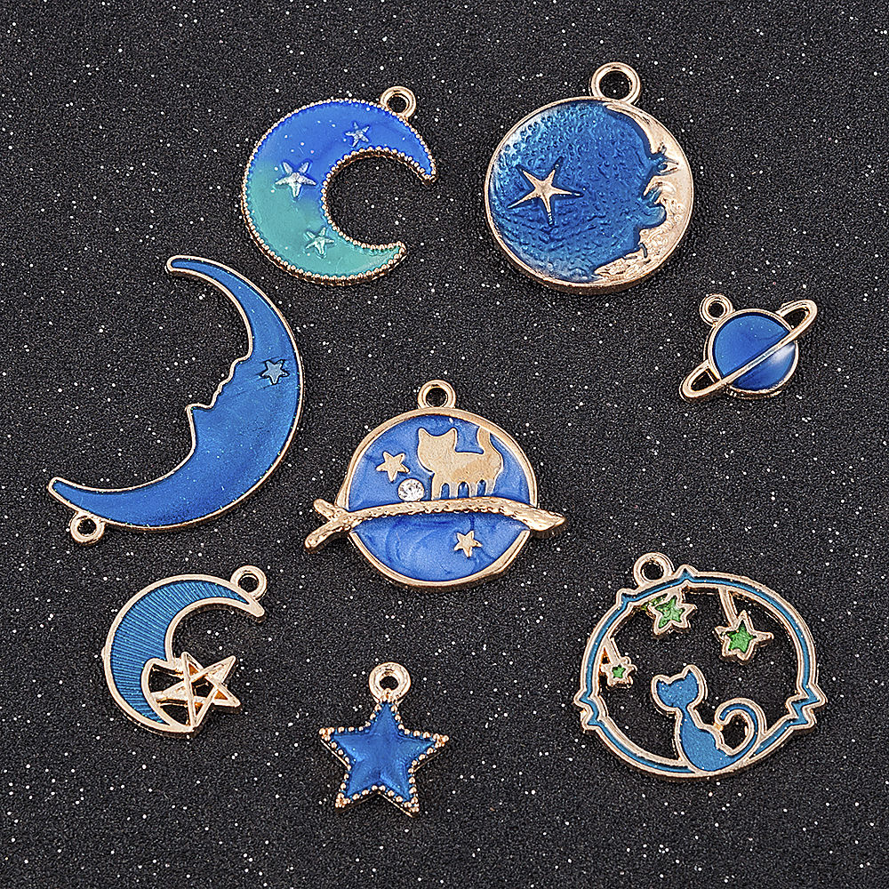 23pcs Mix Style Star Moon Sun Planet Charm Tibet Silver Pendant Bracelet Beads