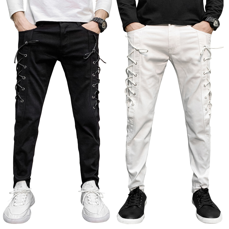 Men/'s Vogue Slim Fit Pencil Pants Joggers Trousers Male Tether Casual Trousers Drawstring Side Pockets Solid Pants 2 Colors
