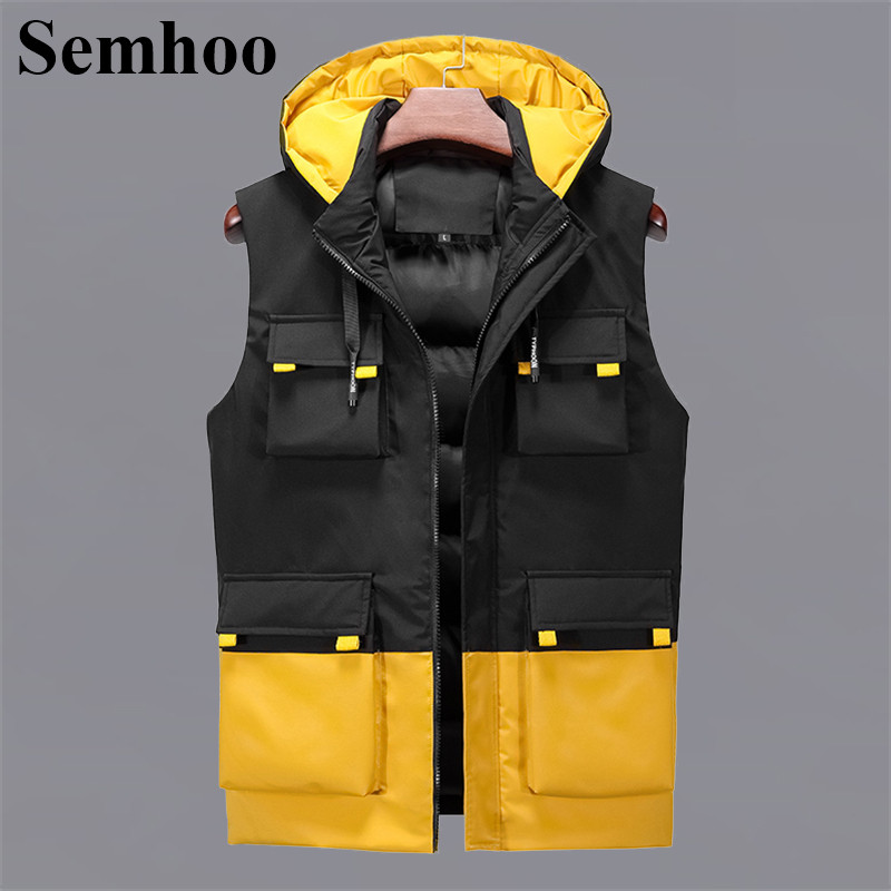 Mens Sleeveless Vest Winter Fashion Casual Hooded Simple Loose Plus Size Vests Male With Many Pockets Tooling Waistcoat Mens