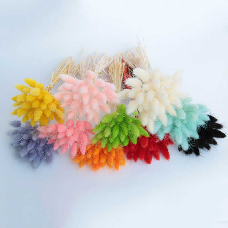 20pcs artificial flowers natural dried flowers lagurus  colorful fake rabbit tail grass ovatus foxtail bouquet long bunches