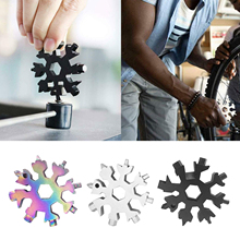 18 In 1 Snowflake Snow Wrench Tool Spanner Hex Screwdriver Multi Tool Bottle Opener Multifunction Camping Outdoor Survive Tools