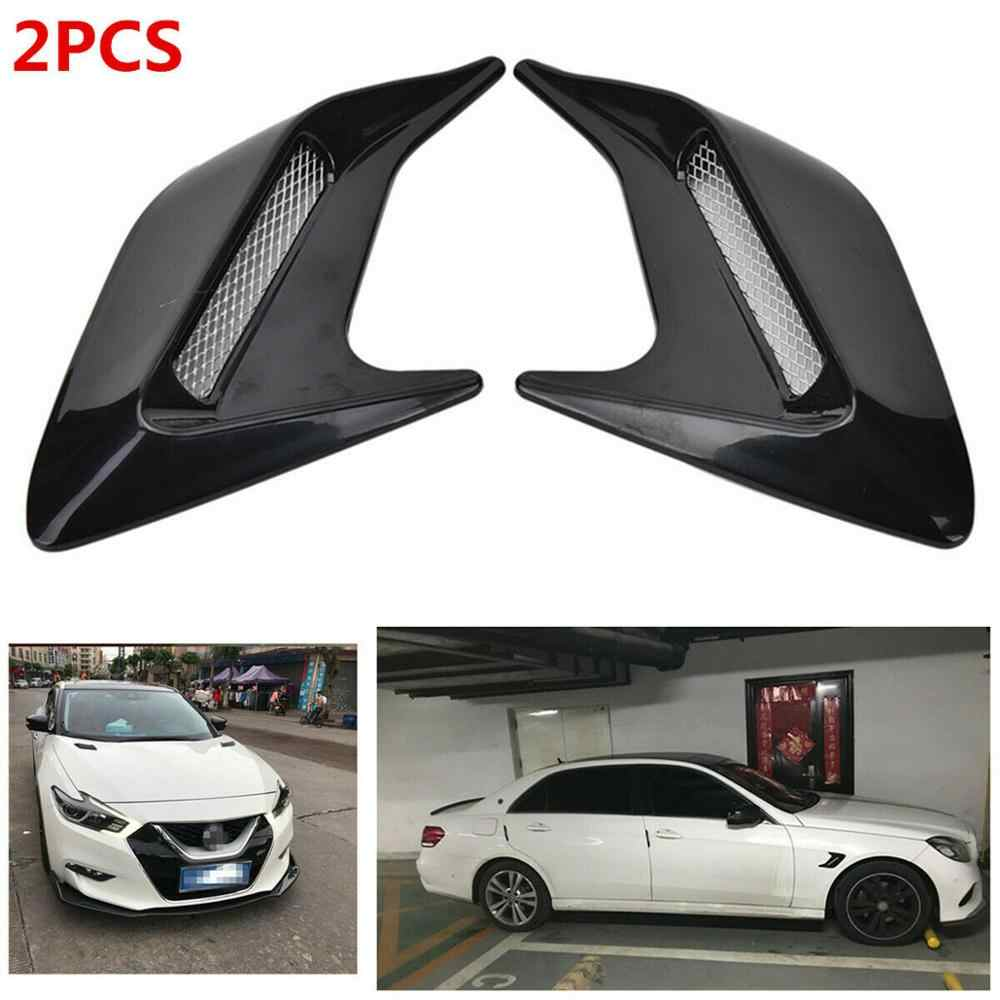 OLOMM 2pcs Shark  Gill Design Car Auto Side Vent Air Flow Fender Intake Sticker Car Simulation Side Vents Decorative