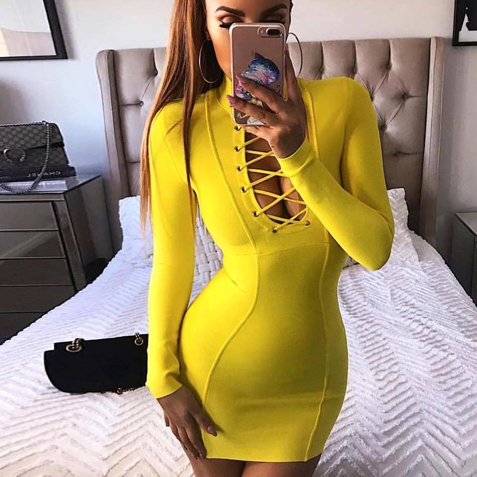 2020 Summer Bandage Dress Woman V Neck Long Sleeve Sexy Club Lace-up Hollow Out Celebrity Party Mini Bodycon Dress Vestidos