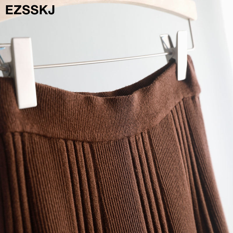Vintage Winter Women thick sweater skirt Elastic High Waist Pleated Midi knitted Skirt A-line female solid elegant Skirts 29