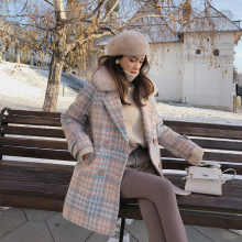 Woolen Coat Clothing Blends Warm Female Elegant Winter Double-Breasted Fashion Outerwear