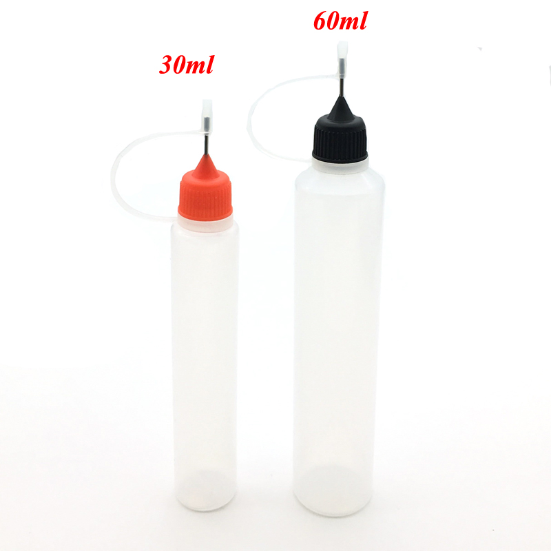 5pcs 3/5/10/15/20/30/50/60/100/120ml Plastic Squeezable Needle Bottles Eye Liquid Dropper Sample Drop Refillable Vail