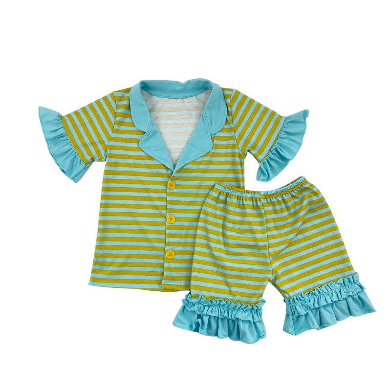 summer fancy kid/'s pajamas green stripe short sleeves wholesale outfits