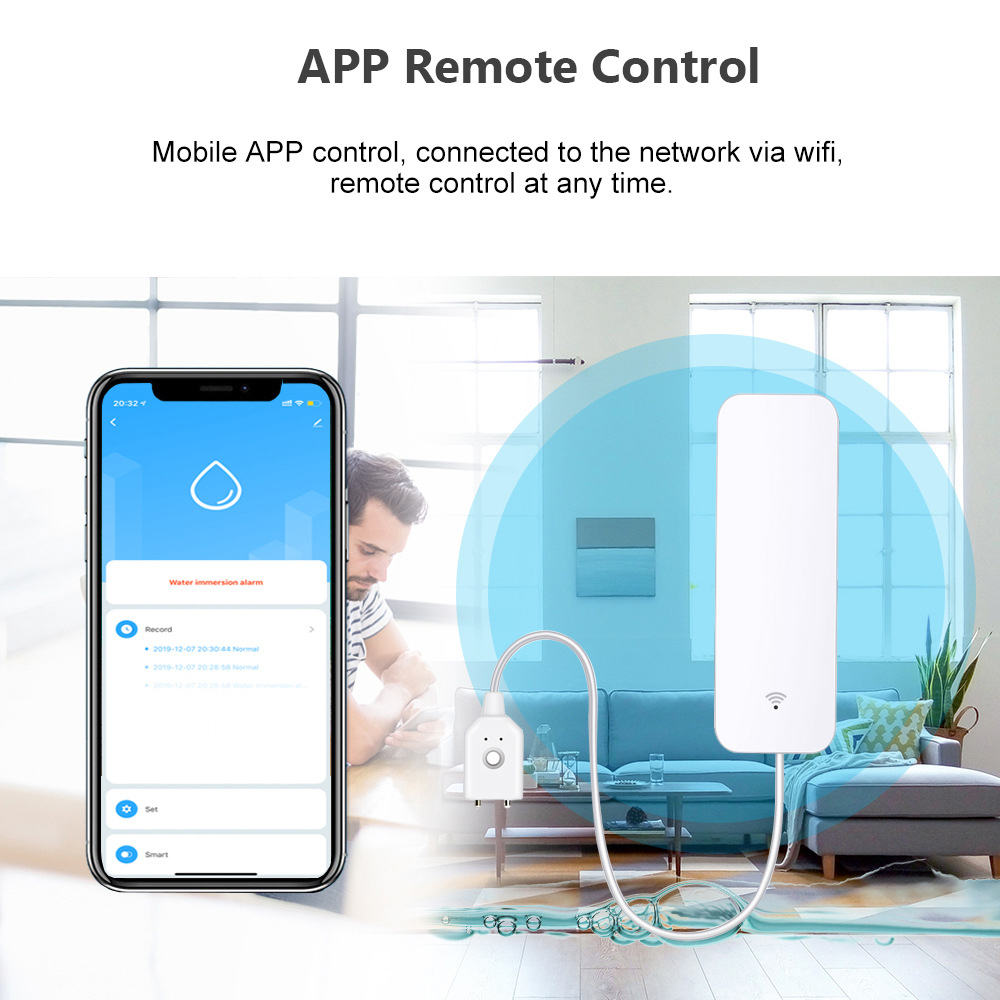 Tuya Smart Wifi Water Leakage Alarm Independent WIFI Water Leak Sensor Detector Flood Alert Overflow Security Alarm System Tuya