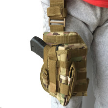 Tactical Nylon Leg Gun Holster with Magazine Pouch Fit Right Hand Airsoft Pistol Holster MOLLE Platform for Glock
