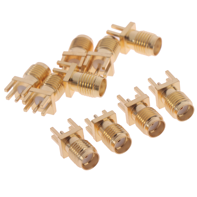 10pcs SMA Female RF Connectors 1.6mm SMA Female Solder Nut Edge PCB Clip Straight Mount RF Connectors
