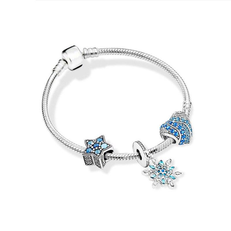 KC 925 silver Dream Heart Bracelet Set Blue Zircon Heart Snowflake Charm Fit original pandora charm Women Bracelet Jewelry