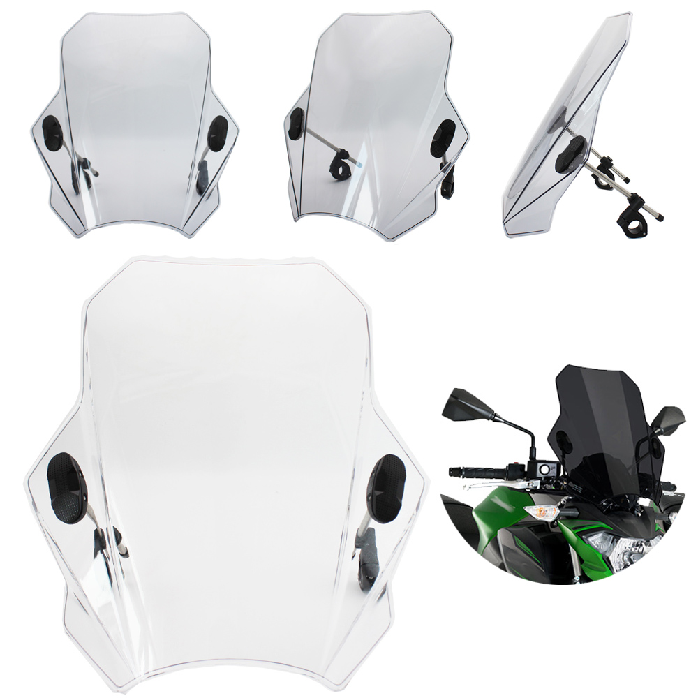 Universal Motorcycle Windshield Windscreen wind deflector With adjustable bracket Fit For BMW Honda Yamaha Kawasaki Suzuki title=