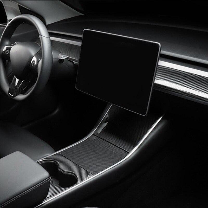 For Tesla MODEL 3 ABS Carbon Fiber Style Central Control Dashboard Panel Trim