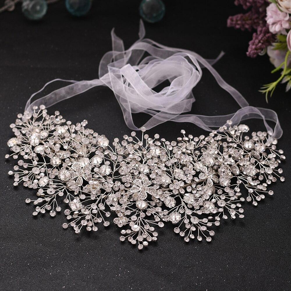 BUFEI HP240 Large wedding crown Gorgeous bridal headband alloy flower wedding tiaras and crowns rhinestone bridal hair jewelry