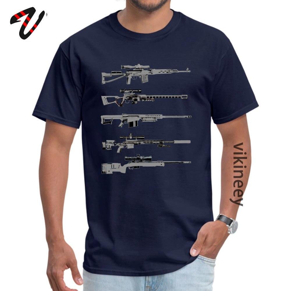 100% Cotton Men Short Sleeve Sniper Rifles Tshirts Design Tops Shirt Retro Design O Neck T-shirts Wholesale Sniper Rifles 12799 navy