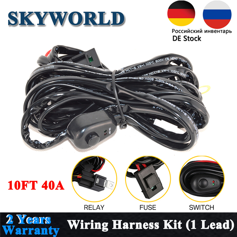 For Off-road 4x4 10FT Switch /& Relay Wiring Harness 240W 42/'/' LED Work Light Bar
