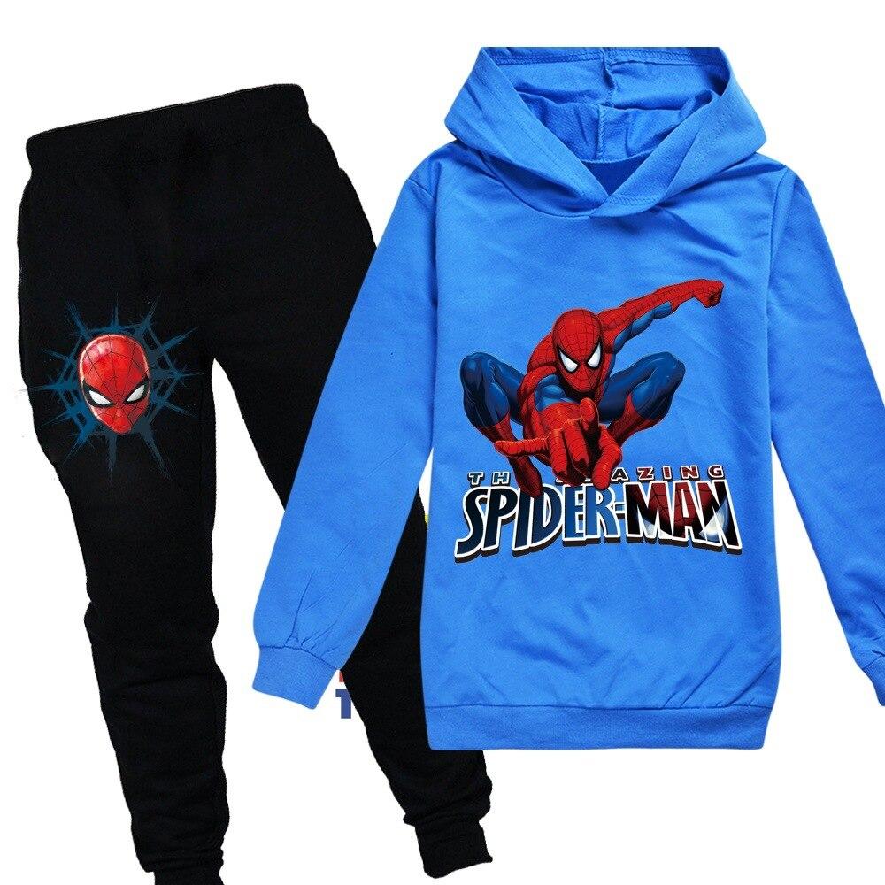 Children Toddler Kids Boys Casual Spiderman Tracksuit Hoodie Sweatshirt Outfits