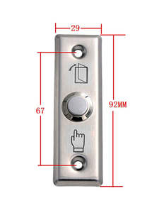 Exit-Button Door-Access-Control Push Dimensions:91lx28wx20h for Stainless-Steel-Material