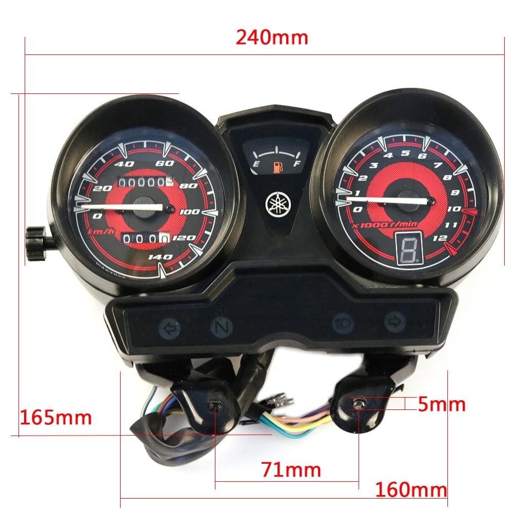 Dual LED Display Instrument with Black Bracket Fit for YBR-125 2005-2009 Tachometer Gauge KKmoon Motorcycle Speedometer Odometer