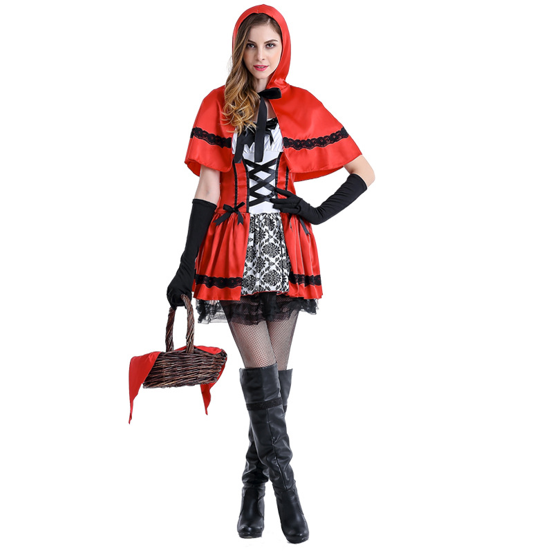 Sexy Adult Fantasia Little Red Riding Hood Cosplay Costume Halloween Stage performance Carnival Party Queen Dress