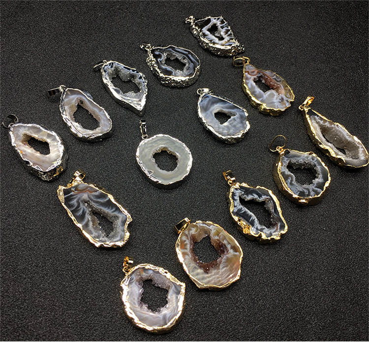 Rare Brazilian Natural Geode Druzy Silver Electroplated Connector Making Jewelry