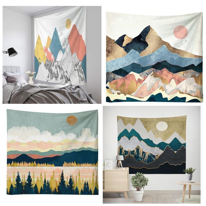 Wall Hanging Mandala Tapestry 150*150cm traveling Camping sunrise oil painting pattern boho Tapestry Yoga pad Sleeping Tapestry