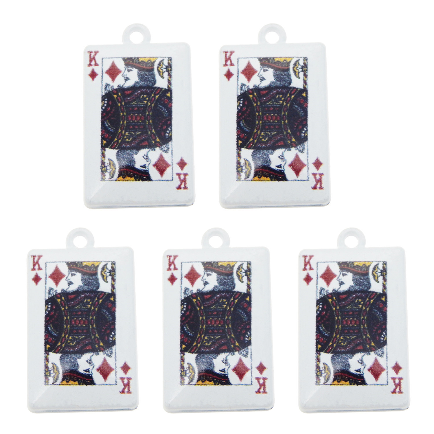 26mm Ace And Queen Charm Silver Yellow Plated Playing Cards