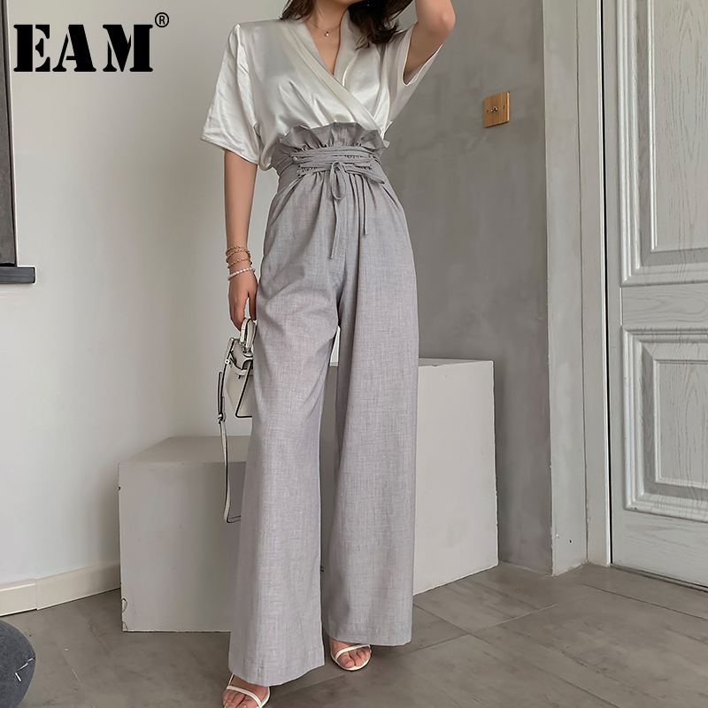 [EAM] High Waist Gray Ruffles Bandage Long Wide LegTrousers New Loose Fit Pants Women Fashion Tide Spring Summer 2021 1W492