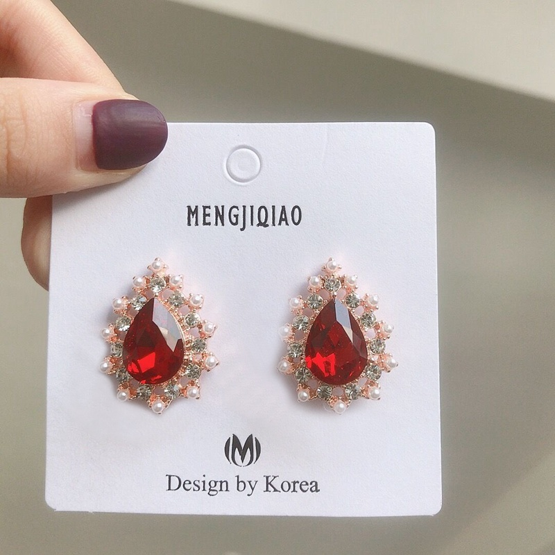 MENGJIQIAO 19 New Korean TV Star Elegant Shiny Rhinestone Drop Earrings For Women Metal Circle Crystal Oorbellen Party Jewery 7