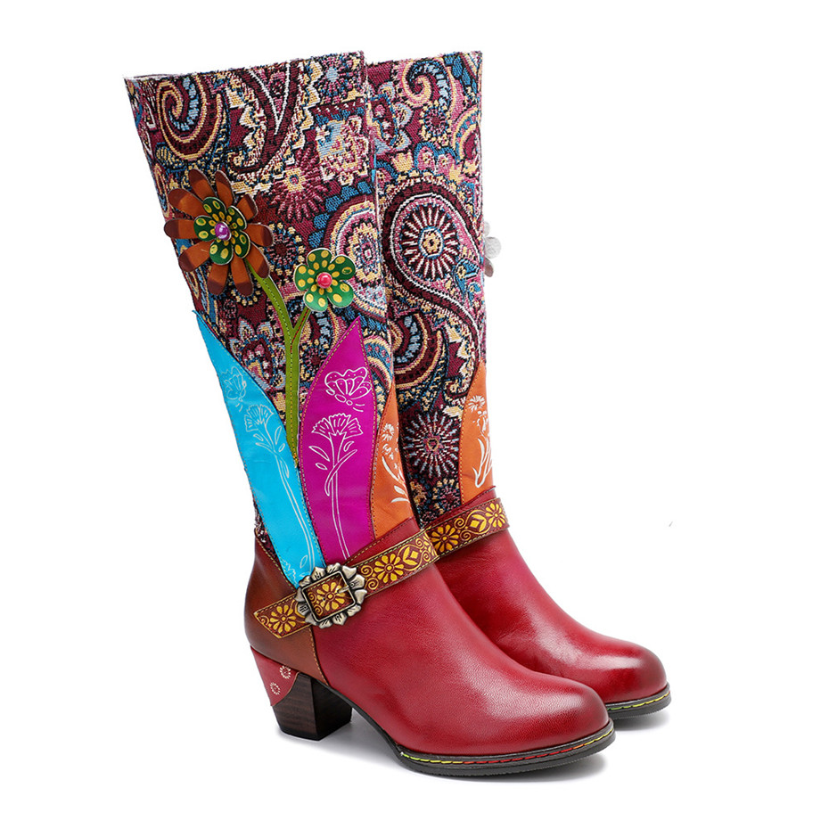 D Knight Luxury Boots Shoes Woman Retro Genuine Leather Casual Women's Knee High Boot Handmade Ethnic Female Western Cowboy Boot (17)