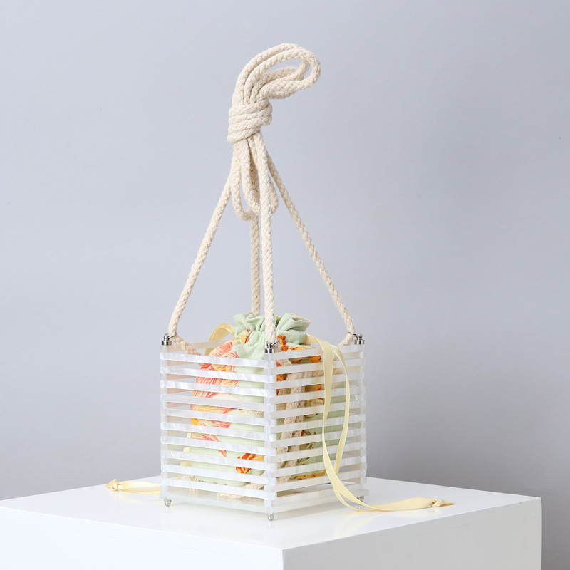 Arcylic Hollow Out Cage Evening Bag Women Handmade String Strap Shoulder Bag Ladies Holiday Personality Beach Handbags And Purse