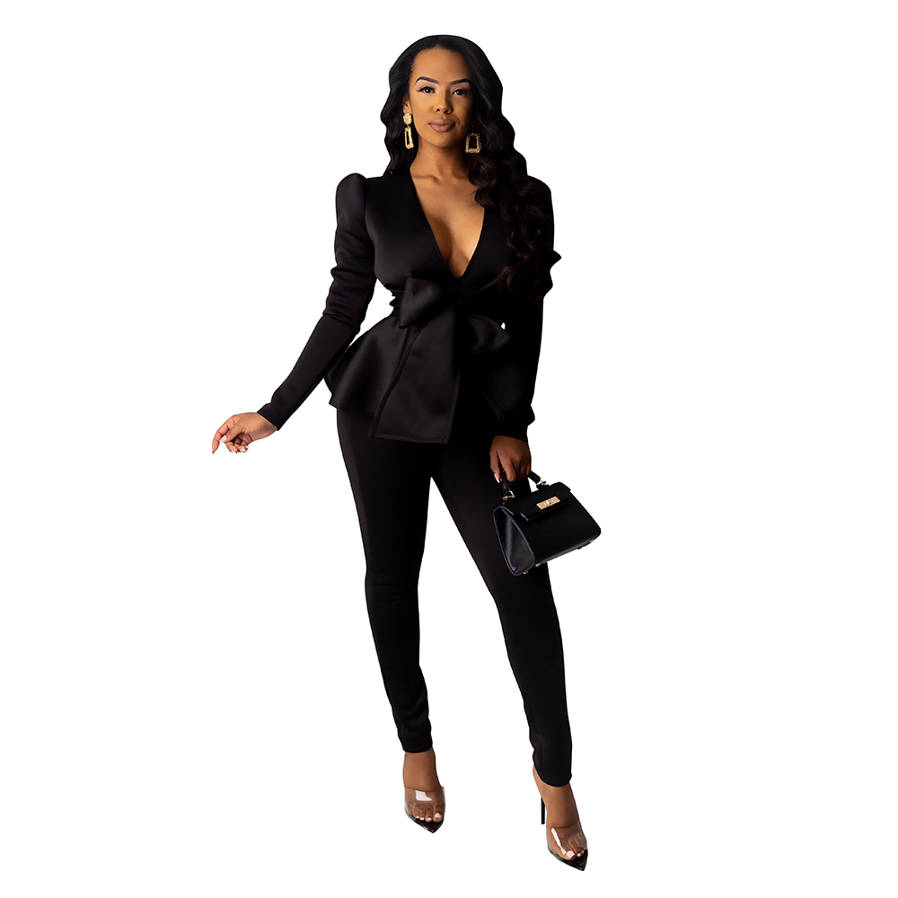 Fashion Blazers Suits Women Long Sleeve Ruffles Trim Bow Jacket+Pant Two Piece Set Sexy Slim Office Outfits Business Uniform