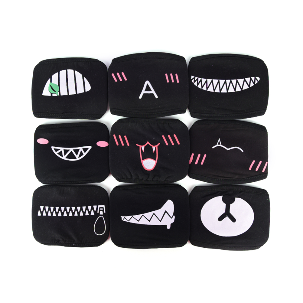 1pc Unisex Cartoon Face Mask Funny Teeth Letter Mouth Protective Mask Black Cotton Half Face Mask Safety Mask
