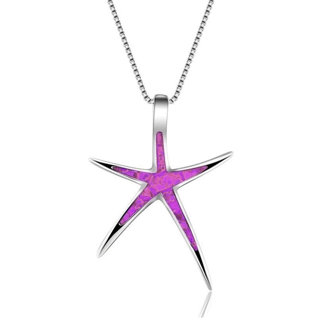 Vintage Silver Long Chain Jewelry For Women Bohemian Opal Crystal Star Necklace Pendant Summer Men collares Jewelry Shellhard