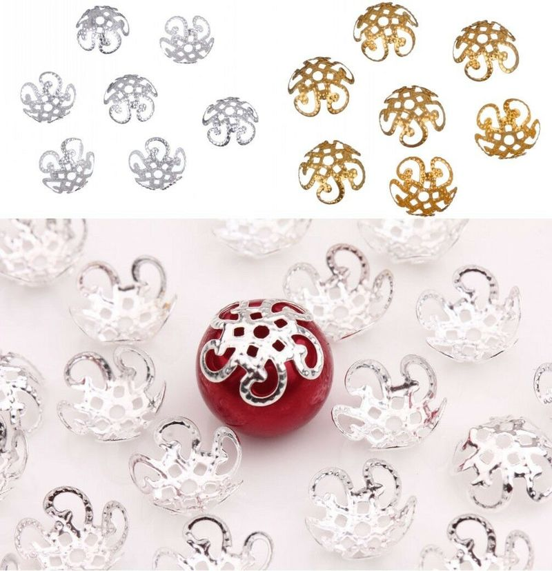 200Pcs 10mm Five Petals Flower Filigree Beads Caps for Jewelry Making Bracelet Necklace Diy End Spacer Beads Accessories