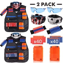 Children Black Tactical Gun Accessories Waistcoat Sets Ammo Holder Elite Pistol Bullets Toy Clip Darts for Nerf Series Kids Toy