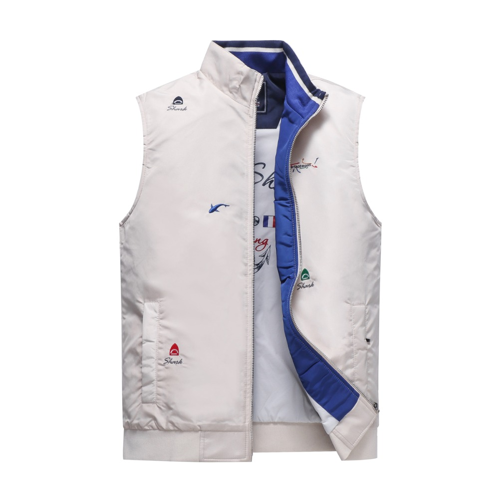 Fashion Brand Vest Men colete masculino inverno Casual Letter Embroidery Stand Collar Waistcoat Sleeveless Jacket