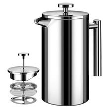 Coffee-Maker French-Press Double-Wall Stainless-Steel 350ml Metal with 3-Level Filtration-System