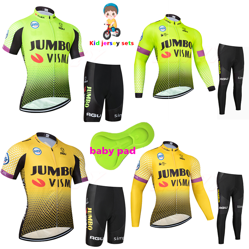 2020 Jumbo short-sleeved boys and girls cycling jersey sets MTB Ropa Ciclismo kid short pants and long jersey summer breathable title=