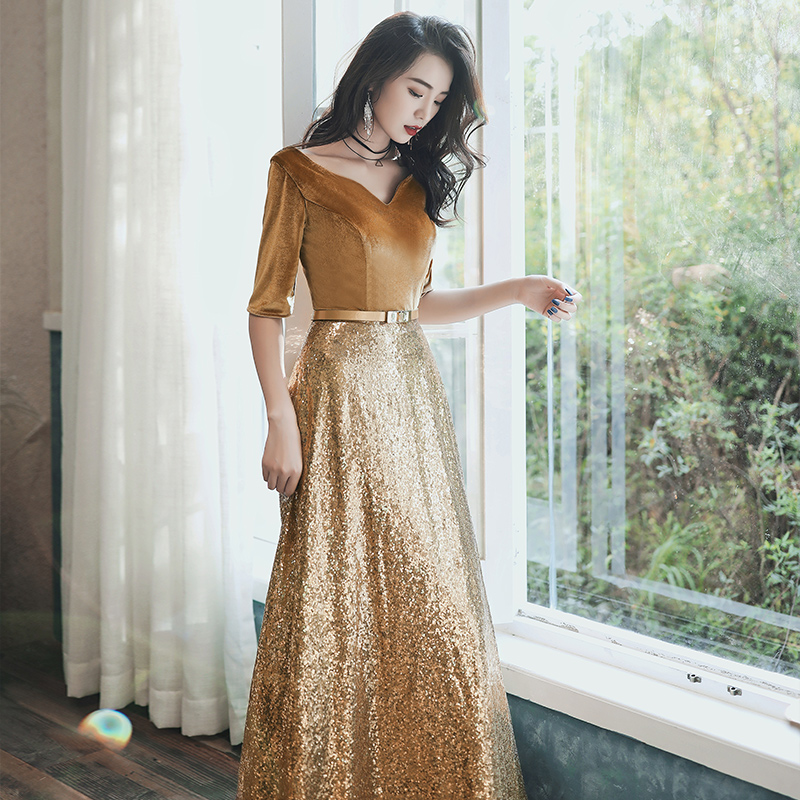 It's Yiiya Evening Dress Long Gold Sequins Velour Evening Dresses For Women Elegant Formal Gowns Plus Size robe de soiree LF144