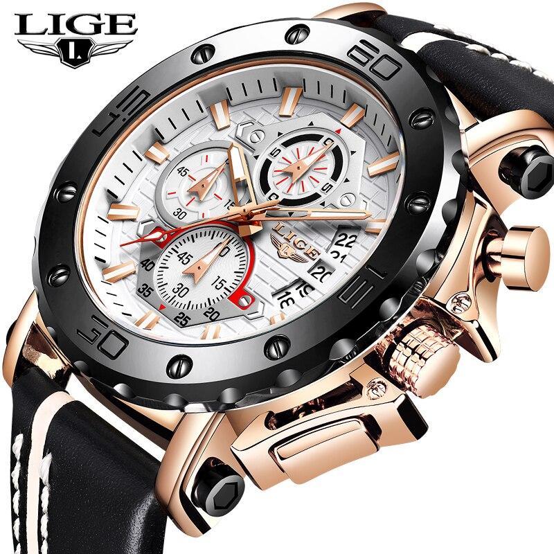 LIGE мужские часы, спортивный кожаный для часов, люксовый Водонепроницаемый кварцевый хронограф с датой 2020