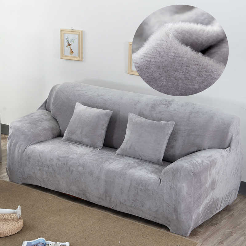Plush Fabric Sofa Cover Velvet Cloth Thick Slipcovers Keep Warm Sofa Covers Funiture Protector Polyester Dust-proof Solid Gray