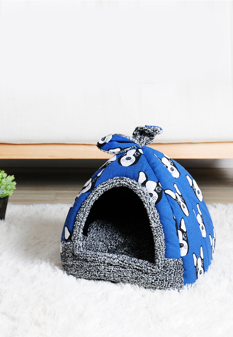 Dog House - Cat House Foldable Lovely Printing Warm Cozy for Cats Dogs Nest Collapsible Cat Cave Cute Sleeping Mats Winter Pet Products