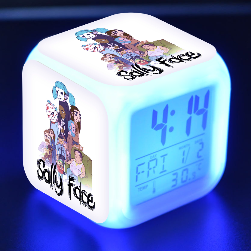 Colorful Color Changing Square Clock Among Us Game Figure Luminous LED Alarm Clock Colorful Flash Desk Light for Kids