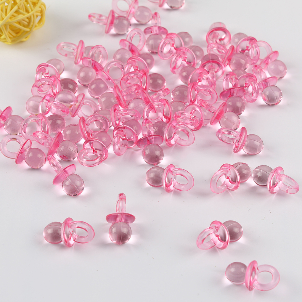 10 x DARK PINK CRYSTAL Dummy Pacifier Faceted Acrylic Charms Baby Shower